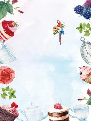 彩繪甜品背景素材 蛋糕 甜品 甜點背景圖庫