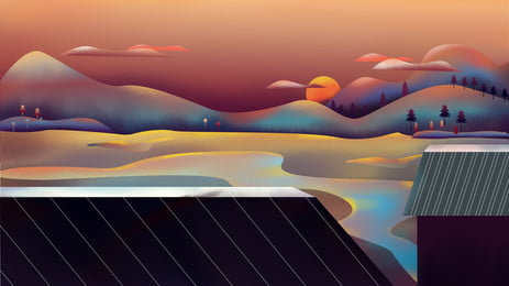 Painted eaves distant mountain illustration background design, Painted Background, Eaves, Room Background image