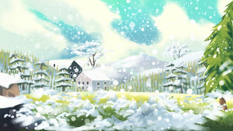 Painted Fairy Tale Windy Sky Illustration Background Design Background,beautiful,fairy Tale,heavy Snow,snow,snow, House, Flowers, Plant, Background image