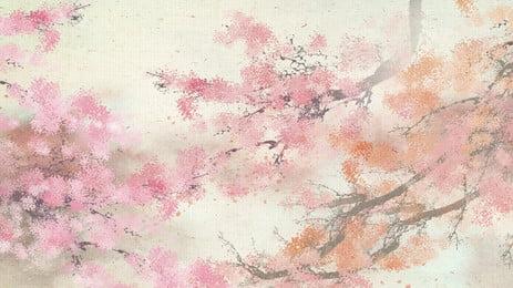 Matériel de base de branches de fleurs peintes Branche de fleur Fond PSD Fond Base Image De Fond