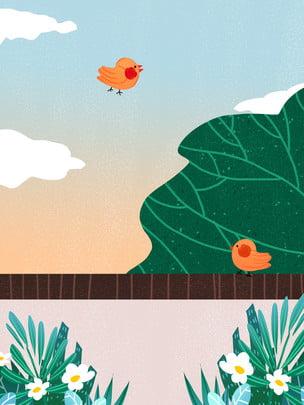 Sơn hoa mùa xuân tươi chim thiết kế nền Con chim nhỏ Mây Nền Sáng Nền Hình Nền