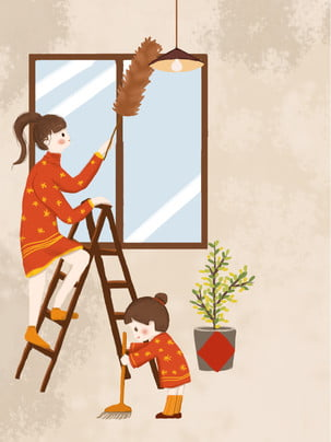 Painted new year cleaning dusting background design , Feather, Window, Cleaning Background image