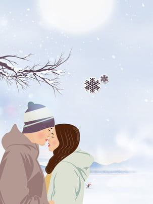 painted snowy holiday couple background , Snowing, Snowman, Heavy Snow Background image