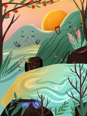 春の山河風景背景デザイン , 販促の背景, 円月, 小川 背景画像