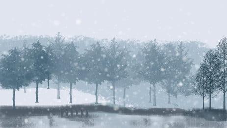 彩繪冬季雪景樹林背景素材, 冬天, 冬季背景, 樹林 背景圖片