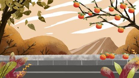 Árvore de caqui pintado de fundo fora da parede gelado Gota de geada Pintado Wall Árvore Animados Fundo Publicidade Imagem Do Plano De Fundo
