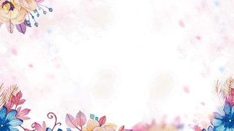 粉色古典手繪風景背景, 植物花卉背景, 葉子, 樹葉 背景圖片