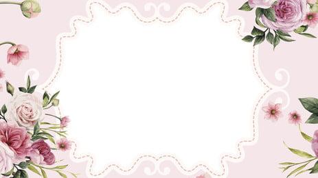 pink rose plant hand drawn background design, Pink, Fresh Background, Rose Flower Background Background image