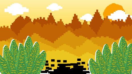 Pixelated phim hoạt hình thiết kế nền cây mùa thu Pixelated Phim Hoạt Hình Nền
