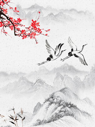 Mai hoa hạc gió cổ kết cấu vật liệu Hoa Mận Cẩu Hình Nền