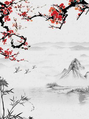 großer gebirgshintergrund des pflaumenblütenkran bambusses , Pflaumenblüte, Bambus, Kranich Hintergrundbild