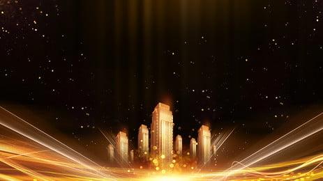 Các tòa nhà cao cấp quảng cáo nền lá vàng Ánh Sáng Quảng Hình Nền