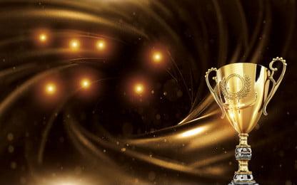 fundo de publicidade premium troféu dourado, Ouro, Troféu, Ponto De Luz Imagem de fundo