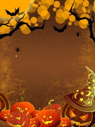 Bí ngô phim hoạt hình nền halloween Nền Halloween Ánh Hình Nền