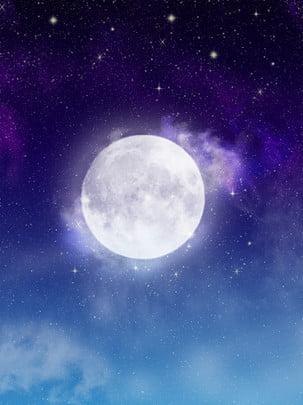 Pure Big Moon Background Starry Sky Sky,background,cloud,simple, Pure Big Moon Background Starry Sky, Sky, Background, Background image