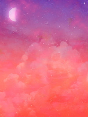 純粋な燃える雲の星空の背景月の背景素材 , 火の雲, 星空, 星 背景画像