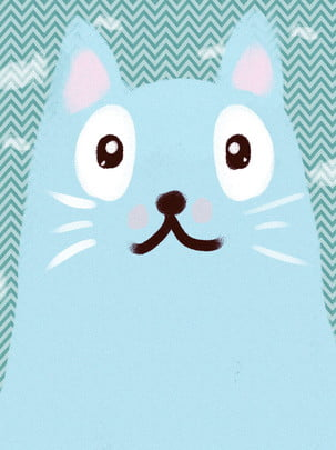 pure hand drawn cartoon blue cat animal background , Cat Background, Hand Drawn Animals, Minimalistic Background Background image