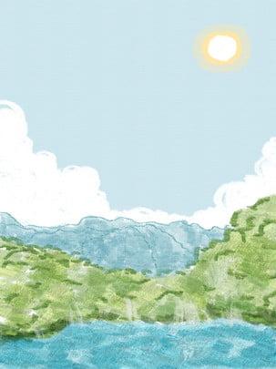 Tinh khiết vẽ tay minh họa nước xanh đẹp nền đồi xanh Vẽ tay Minh họa Cảnh đài Trời Vẽ Hình Nền