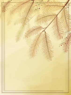 純粋な手描きの植物の葉の境界線の水彩画の背景 , 純粋な手描き, 植物, 花 背景画像