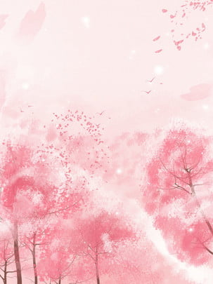 pure hand painted beautiful cherry blossom open pink background , Beautiful Background, Pink Background, Pure Hand Painted Background Background image