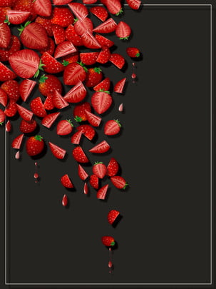 pure hand painted red strawberry fruit food black background , Pure Hand Drawing, Cute Strawberry, Red Background image