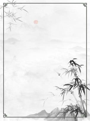 純復古中國風竹子水墨山水邊框背景 水墨 山水 竹子背景圖庫