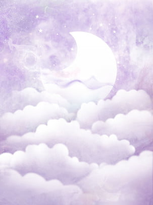 purple beautiful dreamy clouds bright moon illustration background , Solid Background, Purple Background, Starry Sky Background image