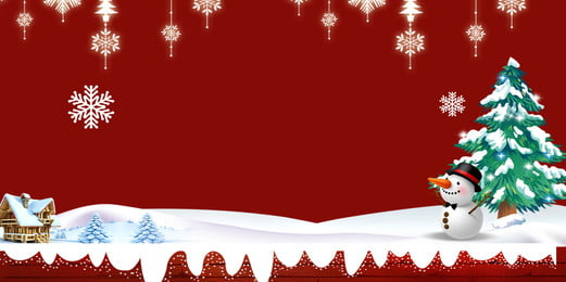 merah dan putih natal salji bahan latar belakang pokok, Salji, Snowflake, Krismas imej latar belakang