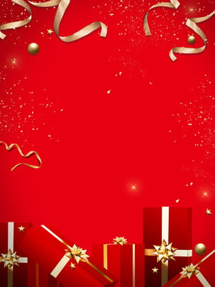 red atmosphere gold ribbon gift business thanksgiving back giving background , Red Background, Festive Background, Gold Ribbon Background image