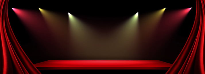 Red Curtain Stage Lighting Banner Background Background, Red Curtain Stage Lighting Banner Background, Background image