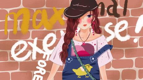 Bức tường gạch đỏ graffiti trước nền phim hoạt hình cô gái ngọt ngào Tường gạch đỏ Graffiti Ngọt Gạch Ngào Thời Hình Nền