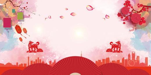 紅色高級大廈廣告背景, 中國風, 燈籠, 扇子 背景圖片