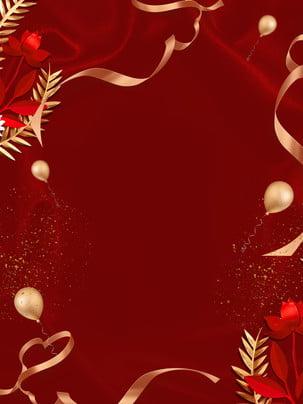 紅色簡約大氣金絲帶背景 , 紅色背景, 簡約, 大氣 背景圖片