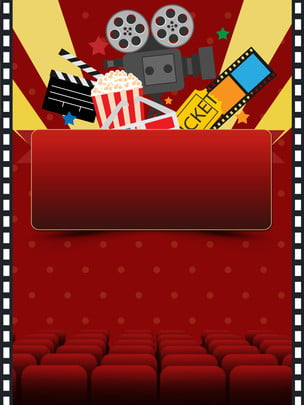 red movie background with curtains and armchairs , Background, Red, The Film Background image