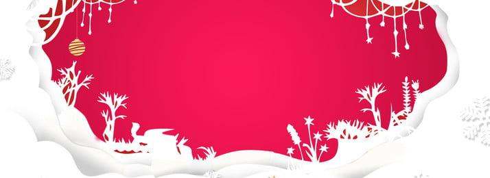 赤い紙カット風のクリスマスのシンプルな化粧品ポスターの背景 紙切れ風 クリスマスポスターの背景 バナー ジュエリー 化粧品ポスター 紙切れ風 クリスマスポスターの背景 バナー 背景画像