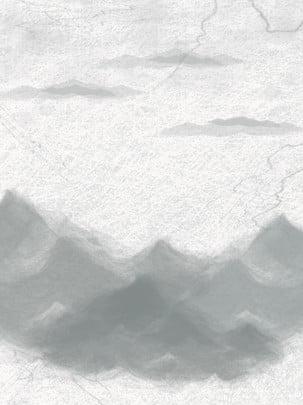 Retro đen và trắng mực cảnh quan phong cảnh màu nước Retro Đen và trắng Cổ Phích Bối Tung Hình Nền