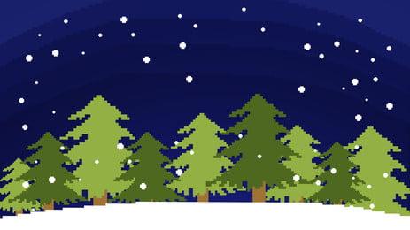 Retro pixel christmas illustration background material, Christmas Tree, Christmas, Advertising Background Background image