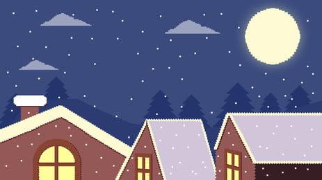 Retro pixel christmas night sky background material above the roof, Retro Pixel, Roof, Night Sky Background image