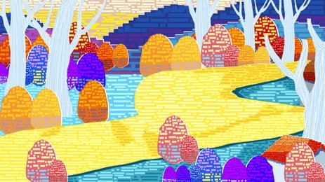 Retro pixelated sơn đường rừng thiết kế nền Sơn Nền Nền Hình Nền