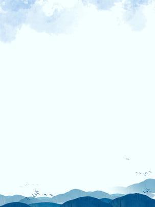 レトロな無地の中国風の背景 , 中華風, 山, 鳥 背景画像