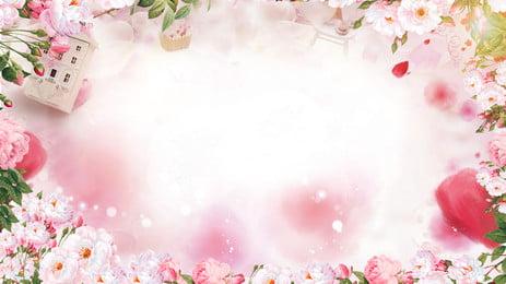 design de fundo romântico linda flor rosa, Romântico, Linda, Pink Imagem de fundo