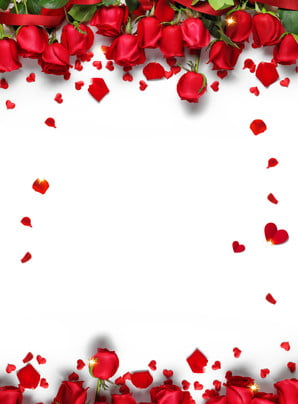 romantic chinese valentines day red rose petals background design , Romantic, Holiday Background, Tanabata Background Background image