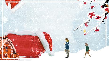 Romantic Couple Snow Advertising Background, Advertising Background, Fresh, Couple, Background image
