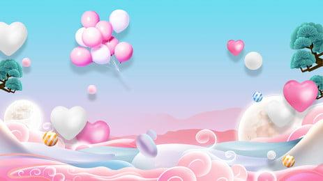 रोमांटिक ताजा गुलाबी गुब्बारा विज्ञापन पृष्ठभूमि, विज्ञापन की पृष्ठभूमि, नीली पृष्ठभूमि, गुब्बारा पृष्ठभूमि छवि