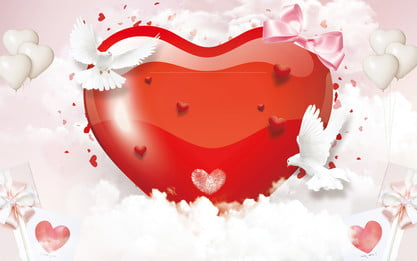 Romantic Love White Dove Valentine Background Design, Beautiful, Romantic, Valentines Day Background, Background image