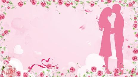 Романтическая роза границы свадебного фона, романтик, Свадебный фон, Роза граница Фоновый рисунок