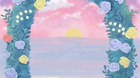 Romantic Seaside Wedding Season Illustration Background Design, Romantic, Beautiful, Wedding Background, Background image