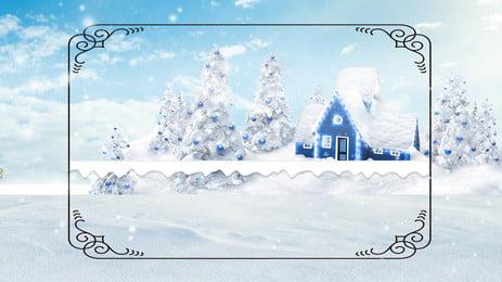 Romantic Snow Cabin Advertising Background, Advertising Background, City, Winter, Background image