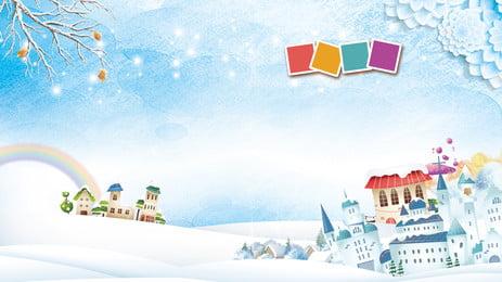 Romantic Snow Castle Advertising Background, Advertising Background, Fresh, Blue Sky, Background image