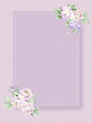 rose flower green plant simple purple background material , Rose, Flower, Green Plant Background image